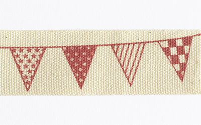Cotton Printed Bunting – Natural / Red