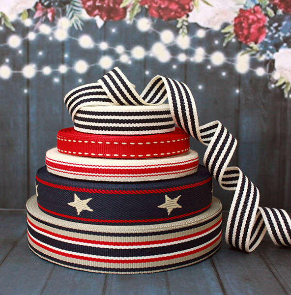 Red and Navy Ribbons - Weavewell